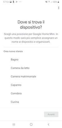 Assegna lo smart speaker Google ad un ambiente della casa