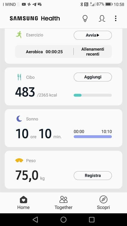 Tramite l'app Samsung Health è possibile usare al massimo Galaxy Fit E