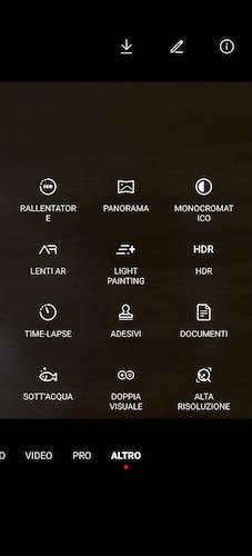 Funzioni fotocamera