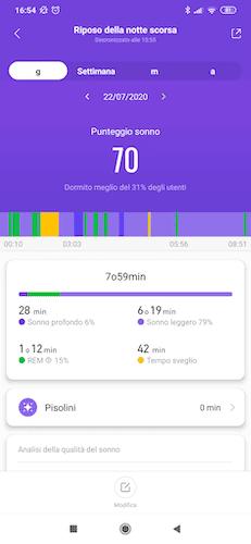 xiaomi mi band 5 monitoraggio del sonno