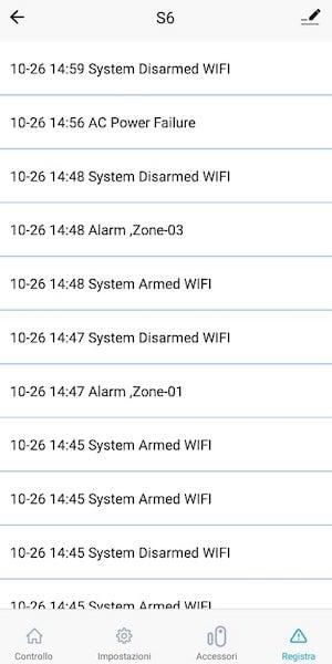 registro eventi etiger allarme s6